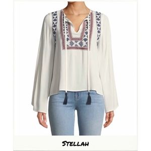 STELLAH | Embroidered Bell Sleeve Peasant Blouse